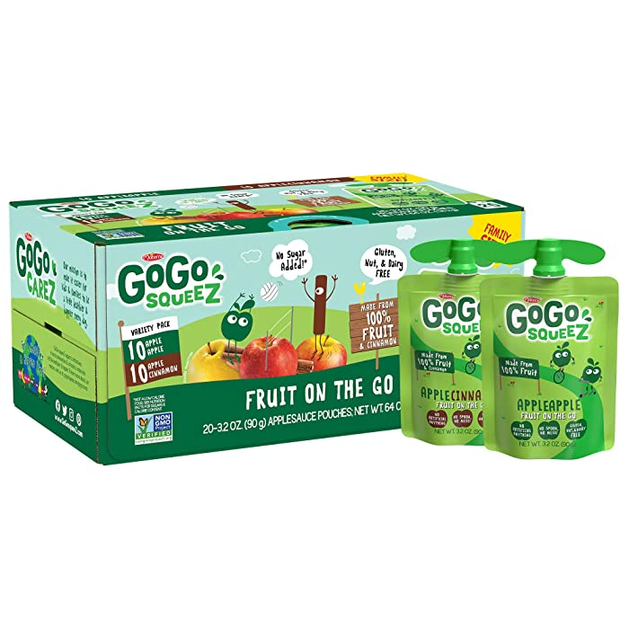 GoGo squeeZ Applesauce, Variety Pack (Apple Apple/Apple Cinnamon), 3.2 Ounce (20 Pouches), Gluten Free, Vegan Friendly, Unsweetened, Recloseable, BPA Free Pouches