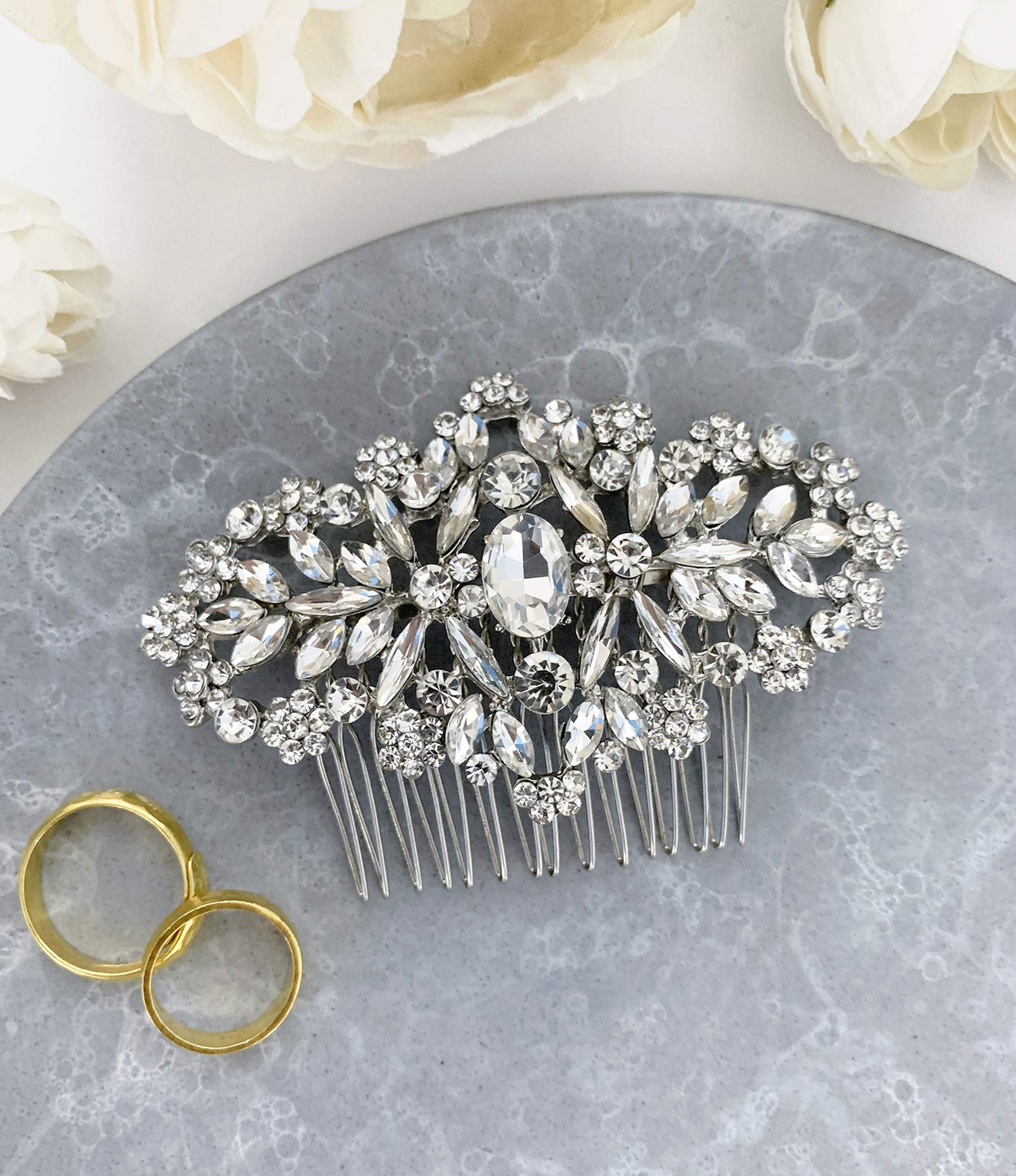 Wedding Hair Accessories Bridal Hair Comb Silver Crystal Rhinestone Classic Elegant Hair Pin Headpiece - For Brides and Bridesmaids - The White Toolbox by The White Toolbox