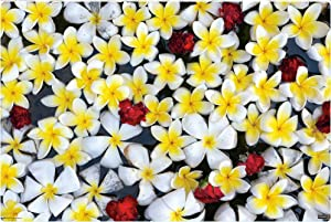 "IMAGINE WORK SURFACE Huge Ultra-Thin 24"" x 36"" Non-Slip Desk Pad Made in USA - Floating Flowers"