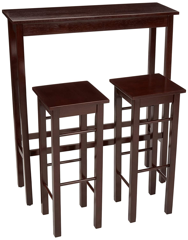 AmazonBasics Breakfast Bar Bistro Table - 3-Piece Set,Espresso