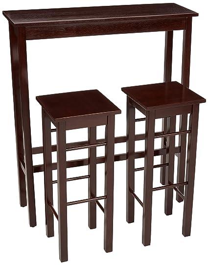 Strange Amazonbasics Breakfast Bar Bistro Table 3 Piece Set Espresso Theyellowbook Wood Chair Design Ideas Theyellowbookinfo