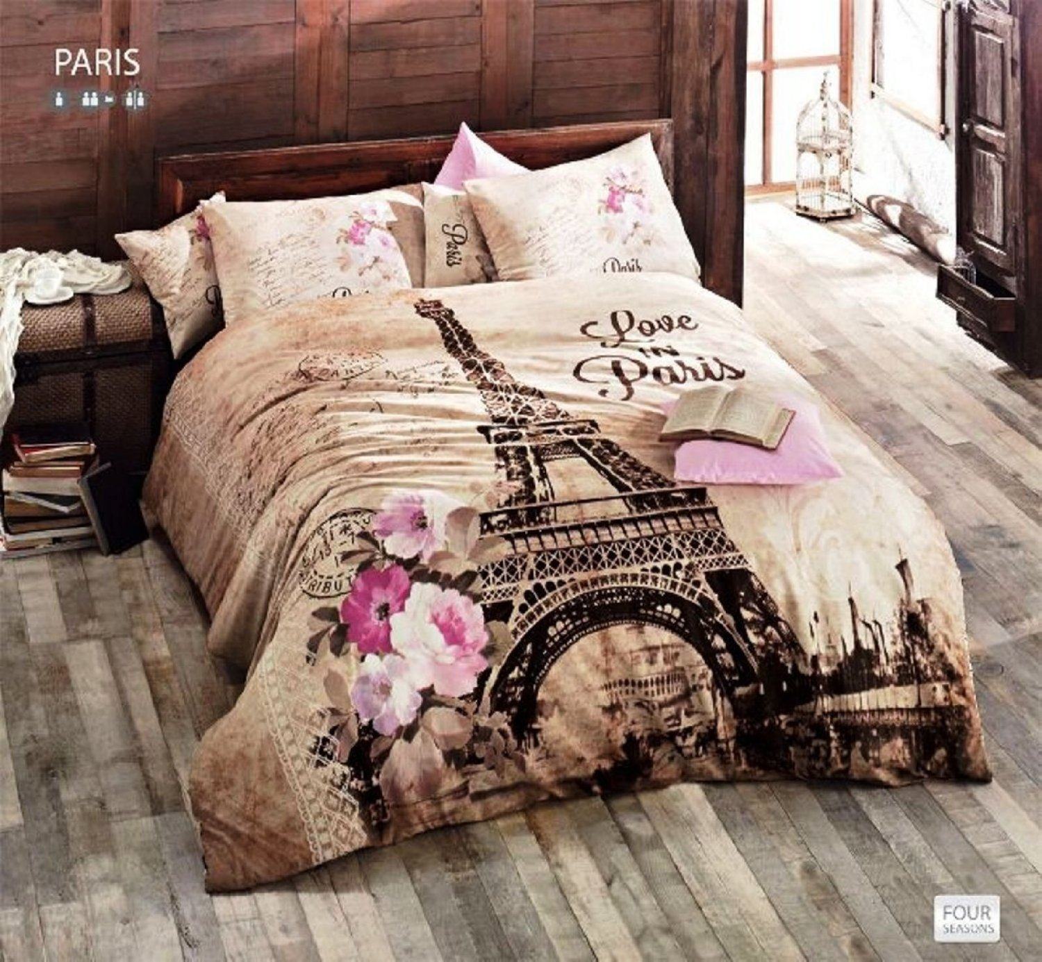 %100 Cotton Ranforce 7-PCS Brown Beige Full Queen Size Duvet / Quilt Cover Set Paris Eiffel Tower Theme Themed Bedding Linens