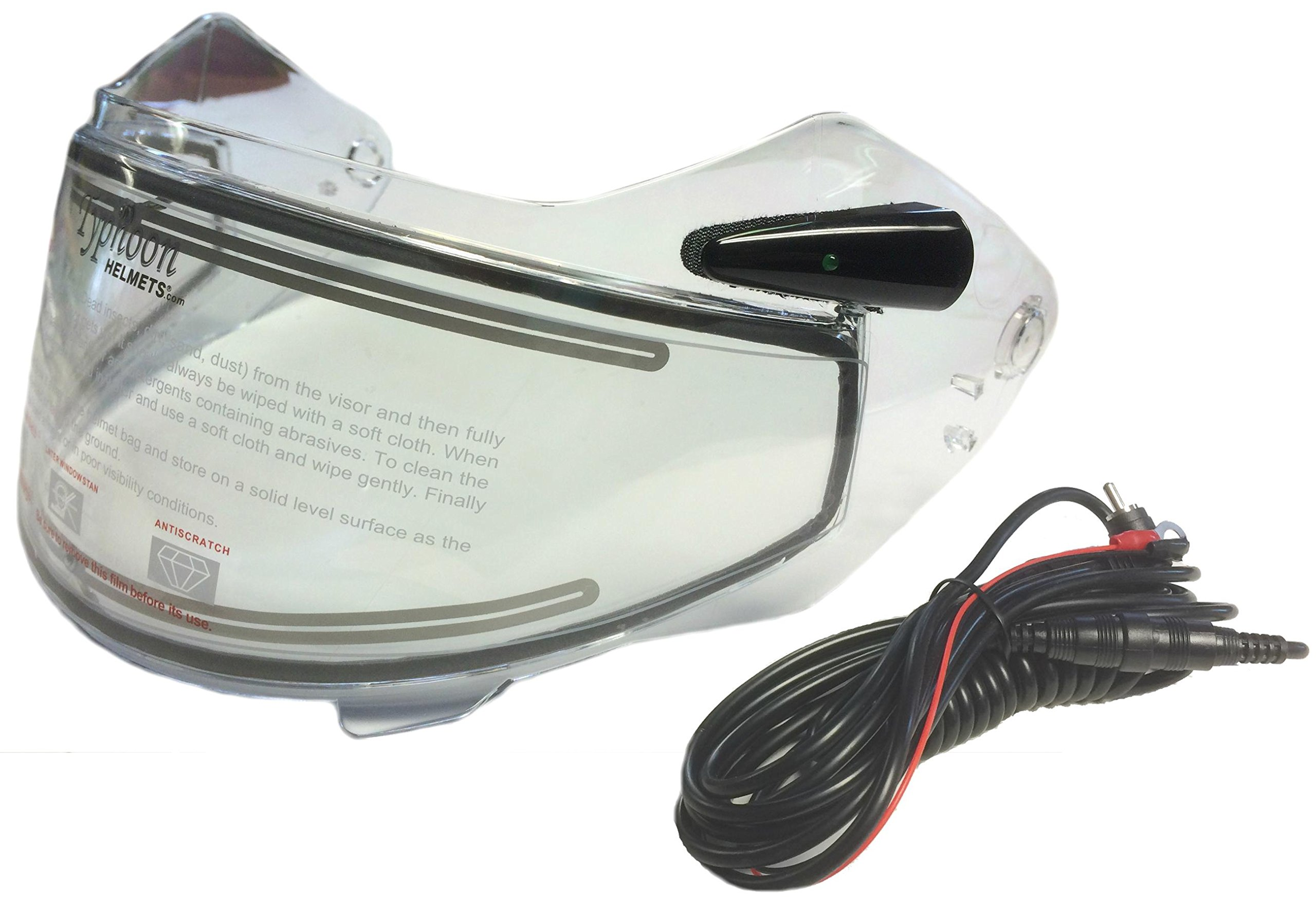 Electric Heated Shield and Cord for Typhoon Helmets G339 Adult Snowmobile Helmet