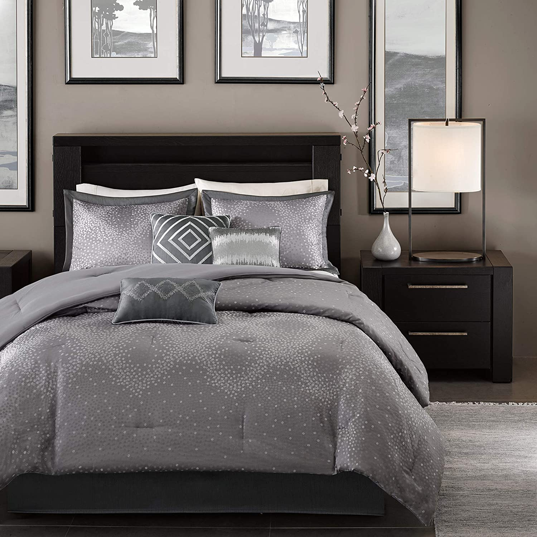 Madison Park MP10-922 Quinn 7 Piece Comforter Set, Queen, Grey