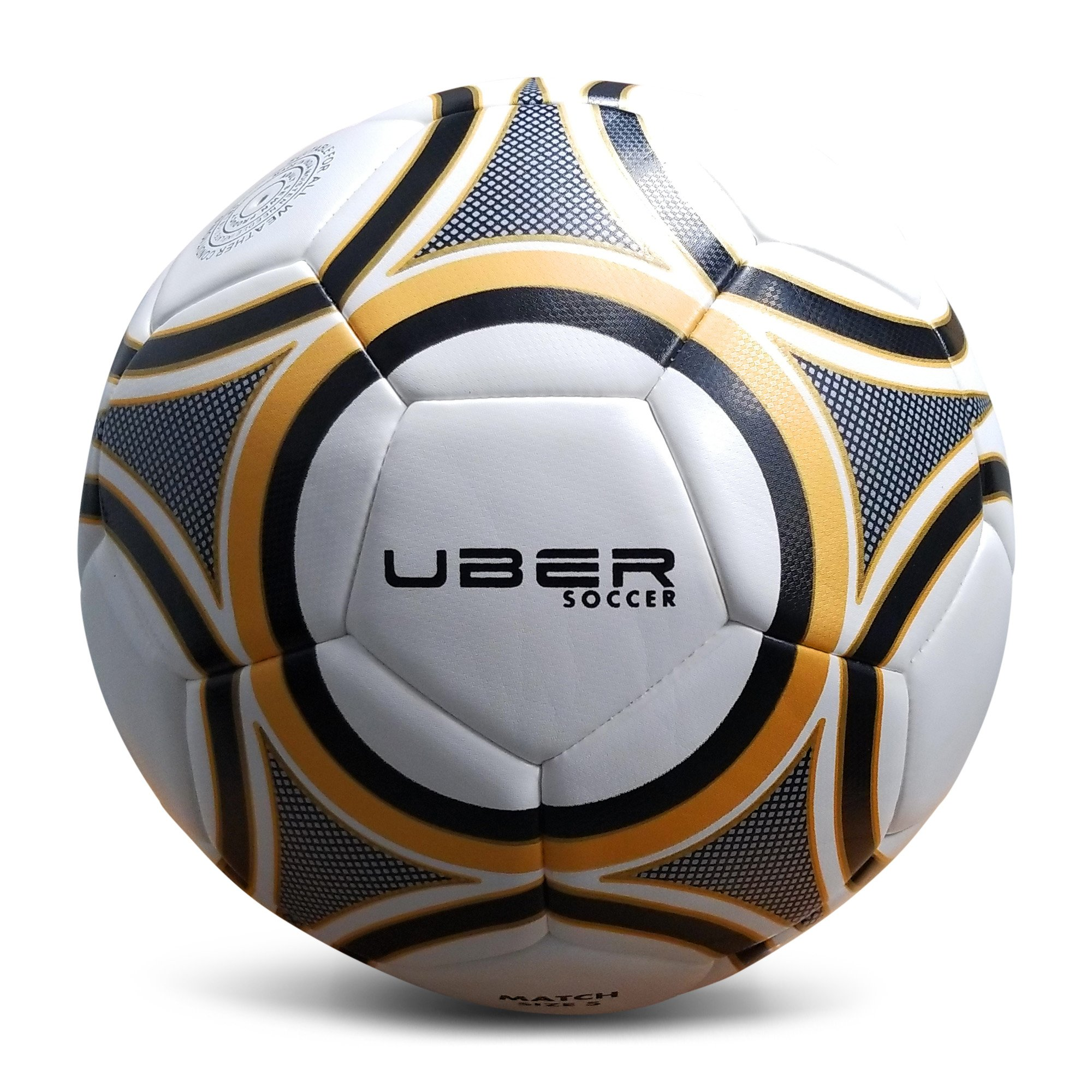 Gold//Black Latex Bladder Size 3//4//5 Synthetic Leather Uber Soccer Thermofusion Match Soccer Ball Hand Stitched