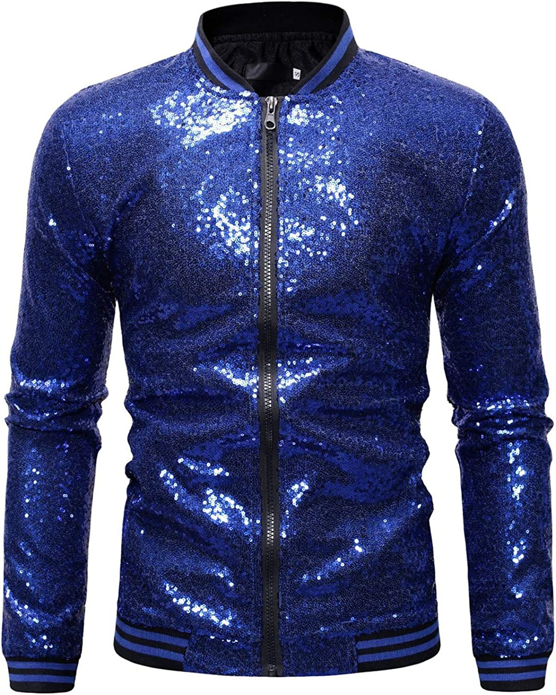 Omoone Mens Zip Up Mermaid Sequin Lightweight Shiny Clubwear Bomber Jacket