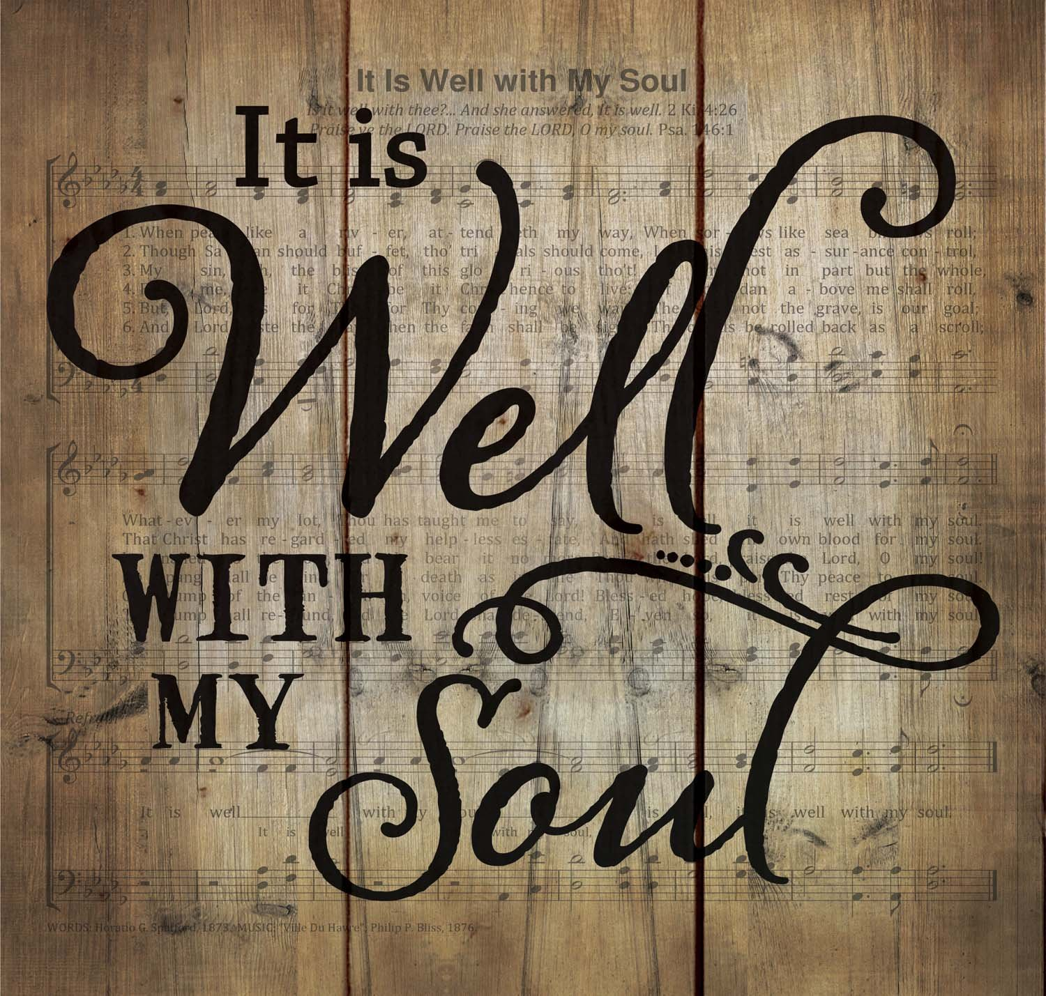 It is Well with My Soul Hymn Sheet Music 10 x 11 Wood Pallet Wall Art Sign Plaque