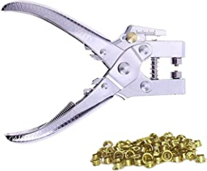 Kurtzy Eyelet Hole Punch Pliers - Punch Pliers Set with 100 Eyelets - Metal Eyelets and Hole Punch Kit for Leather, Belt, Watch Strap, Shoe, Decorative Repair