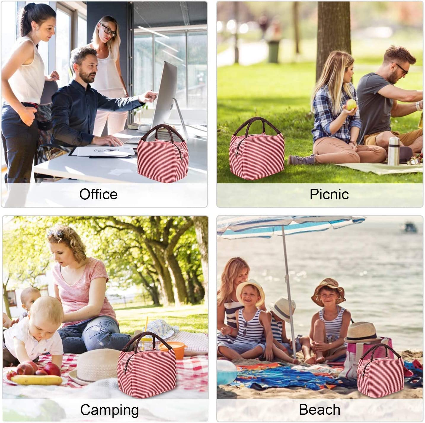Black White Strip, Small Lunch Bags for Women Insulated Lunch Bag Adult Lunch Bags Women Lunch Box Jeopace