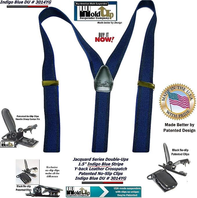 "Mens Suspenders X Style 2/"" MARINE MANA 2 PIN CLIP BELT LOOP Snaps.USA Made"