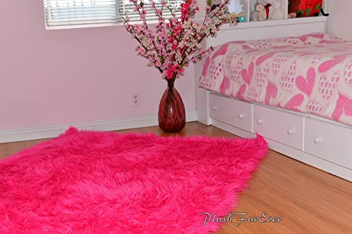 Hot Pink Shaggy Shag Area Accent Throw Rug Baby Girl Nursery Carpet Rectangle Suede Backing