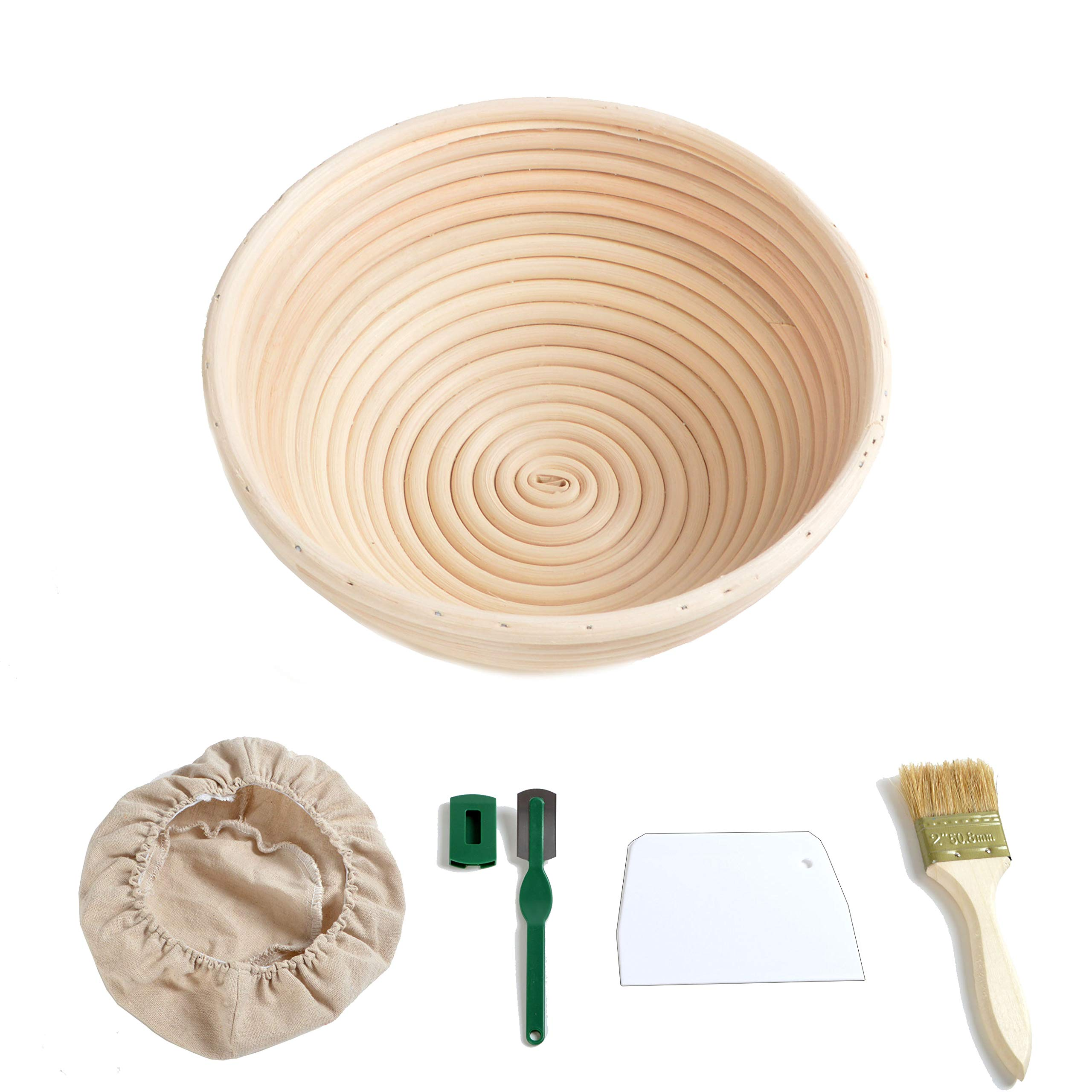 8.6''/22cm Round Bread Proofing Basket Sourdough Proving Bannetons w/Liner Cloth Bread Cutter Lame Brush fit 700g Dough by grandtobuy