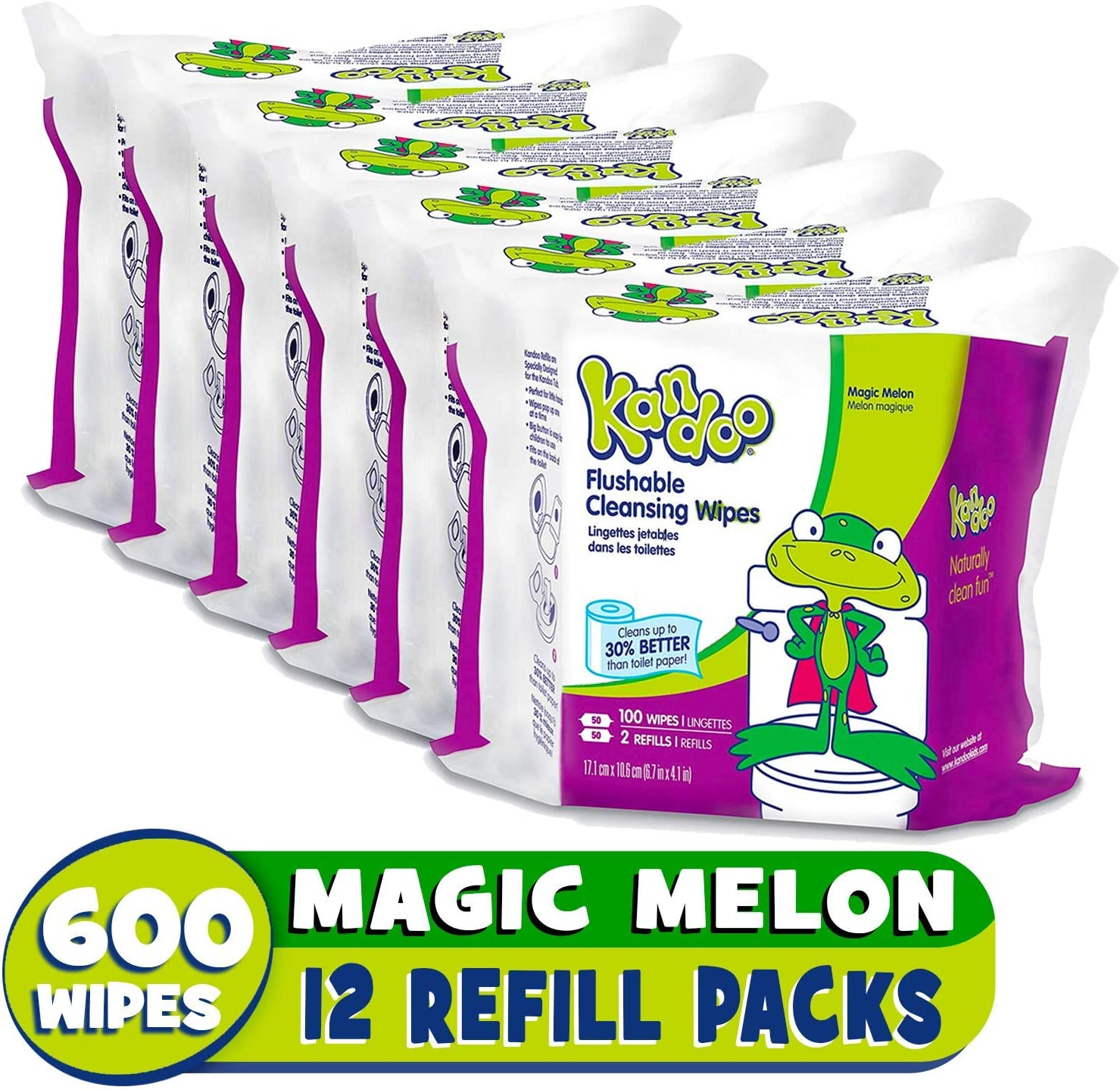 B000F0Z07I Flushable Wipes for Babies and Kids, Magic Melon by Kandoo, Potty Training Wet Cleansing Cloths Refills, 100 Ct, Pack of 6 (Packaging May Vary) 81VWqmy1oFL