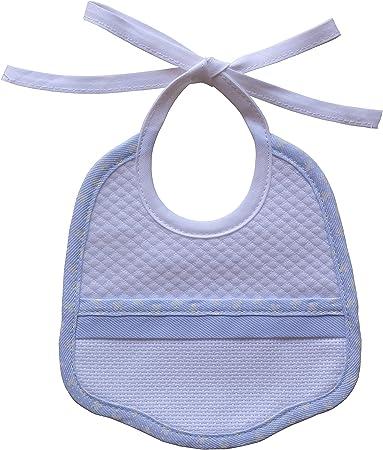 Babero de algodón blanco, borde de color, con inserto de tela Aida para bordar,Babero para bebé con