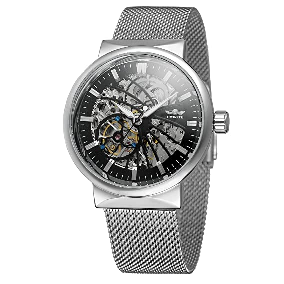 FORSINING - Reloj de pulsera para hombre, automático, fascinado, resistente al agua, popular esqueleto de acero inoxidable: Amazon.es: Relojes