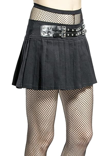 2aaebea9af Tripp NYC Gothic Punk Metal Rock Star Band Black Pleated Belted Mini Skirt  (S)