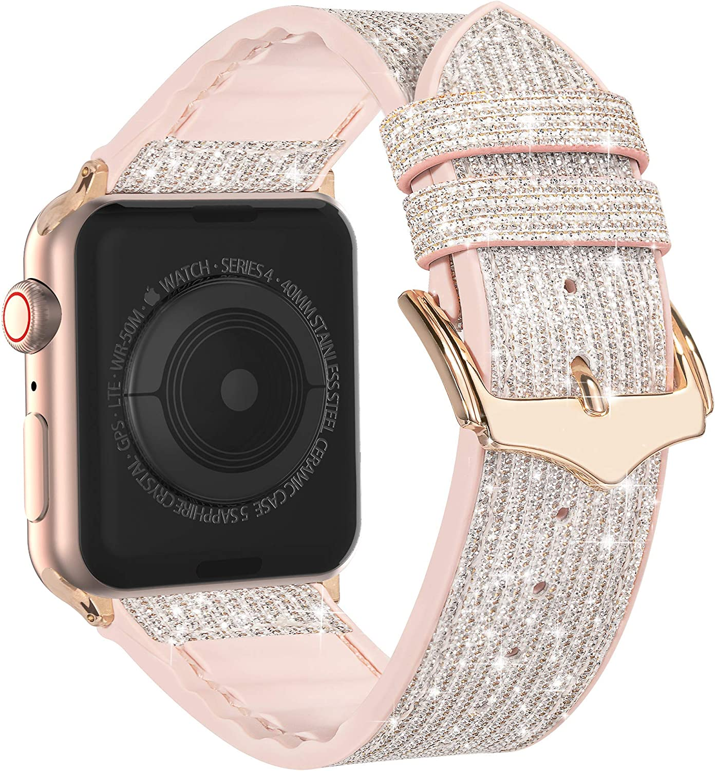 Compatible with Apple Watch Band 38mm 40mm 42mm 44mm, CTYBB Blingbling Sweatproof Genuine Leather and Silicone Band for iWatch SE Series 6 5 4 3 2 1, (Glitter Silver/Rose Gold, 42mm 44mm)
