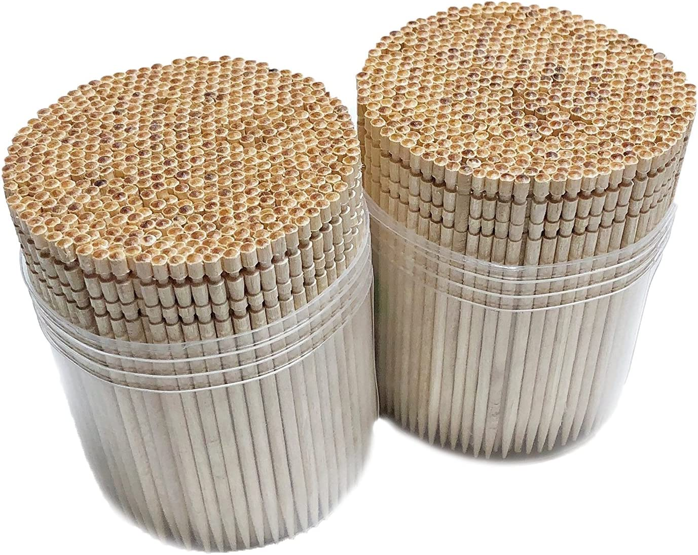 Makerstep Wooden Toothpicks 1000 Pieces Ornate Handle, Sturdy Cocktail Safe Large Round Storage Box 2 Packs of 500 Party Appetizer Olive Barbecue Fruit Teeth Cleaning Art Crafts
