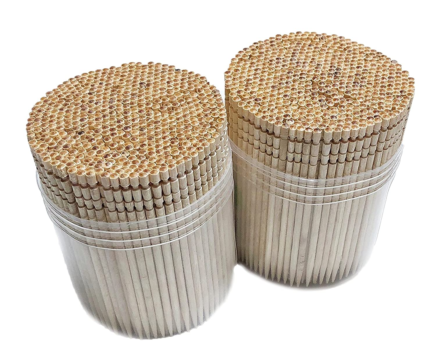 Makerstep Ornate Wooden Toothpicks - 1000 Pieces Cocktail + Sturdy Safe Large Round Storage Box + 2 Packs of 500 Party Appetizer Olive Barbecue Fruit Teeth Cleaning Art Crafts 20012