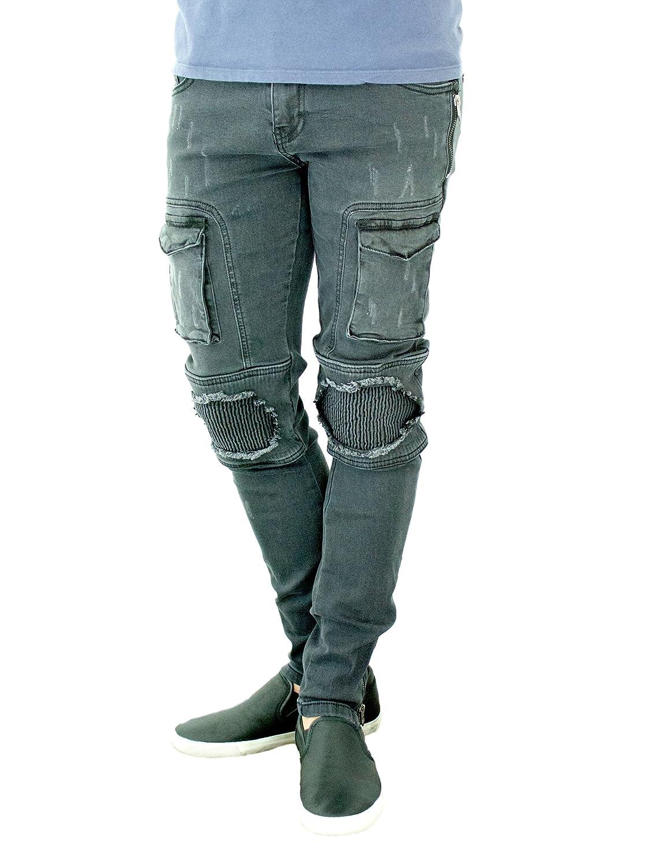 ETZO Men/'s biker jeans J7631 Slim Skinny fit premium Ripped Distressed Denim