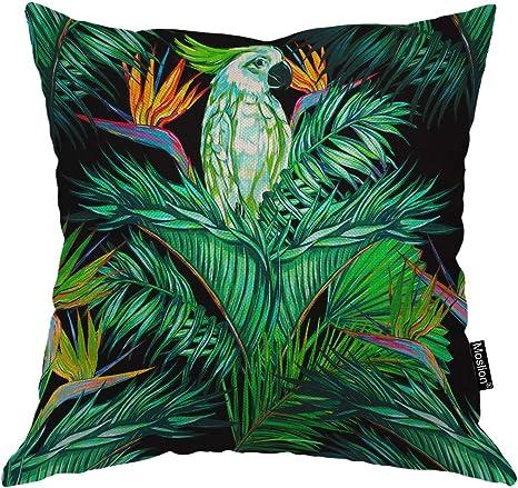 Parrot Bird Cotton Linen Square Home Decorative Throw Pillow Case Cushion Cover