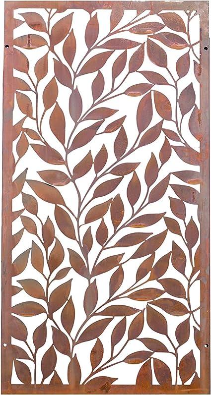 kayee® Decoración para Jardín, Hogar, Oficina, restaurante, sirve, archaistisches Diseño de Hojas, paraviento pared gewö LBT |600 mm × 1200, natural rejilla de acero corten |ky de 006 – 2 de 2 x: Amazon.es: Jardín