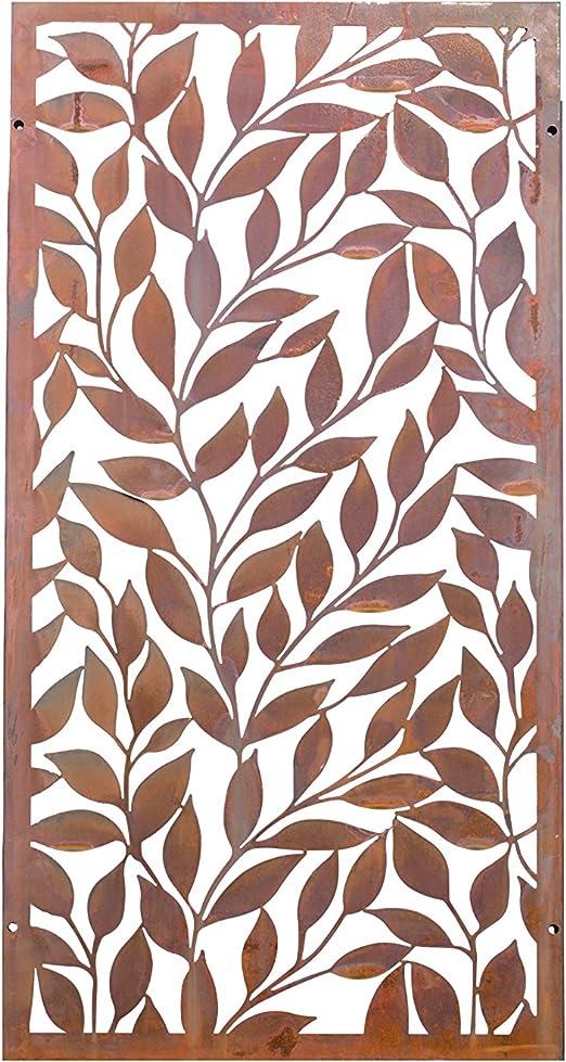 kayee® – Decoración, diseño de hojas, Biombo, decoración de pared exterior, biombos pared, privacidad, imágenes, vallas, Separador |600 mm × 1200, de óxido cortenstahl|ky Natural 006 – 1 de 2 x: Amazon.es: Jardín