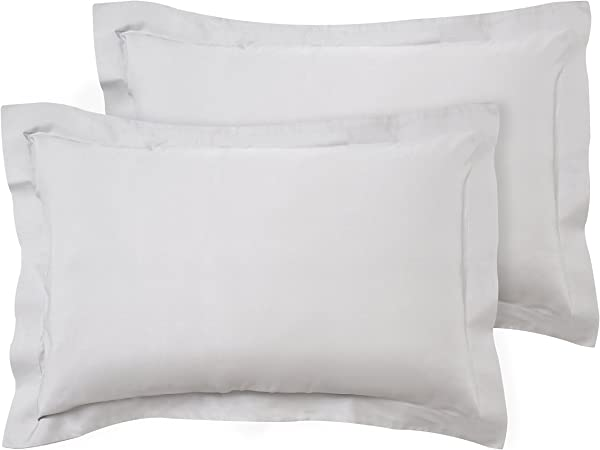 100% Bamboo Bed Linen Luxury Pillowcases Oxford Style (Set of 2) (Soft Grey)