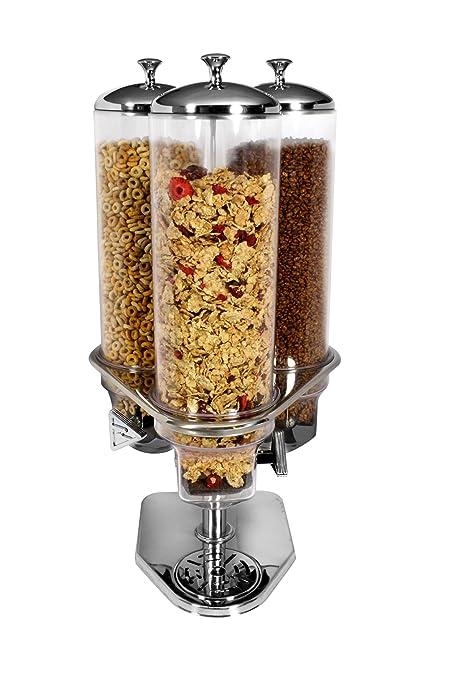 Dispensador de cereales (acero inoxidable y policarbonato, 3 tarros de 4 l de capacidad
