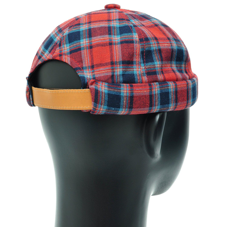 PLIC n PLOC HH18.Tartan Check Watch Cap Miki Cap Leon Short Beanie Unisex Men Women Hat (Red)