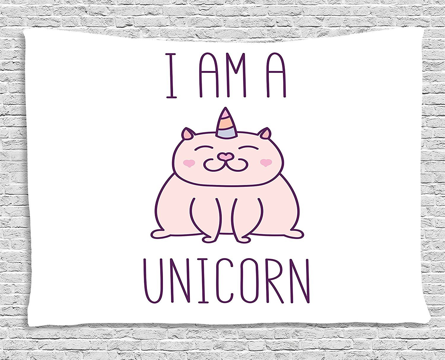 Unicorn Cat Tapestry, Fantasy Animal withI am a Unicorn Quote Lovely Funny Fictive Kitten, Wall Hanging for Bedroom Living Room Dorm, 80 W X 60 L Inches, Baby Pink Purple