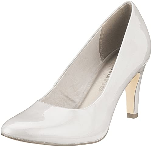 22447, Zapatos de Tacón para Mujer, Blanco (White Patent), 36 EU Tamaris