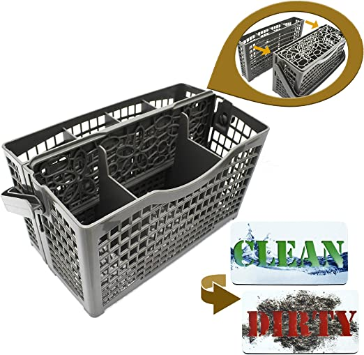Dishwasher Silverware Basket Universal - Clean Dirty Magnet Sign - Utensil/Cutlery Holder Replacement - Fits Bosch, Maytag, Kenmore, Whirlpool, ...