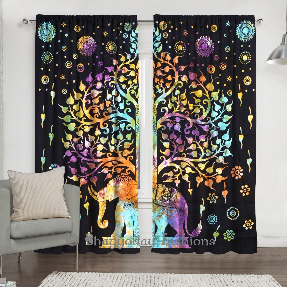 Indian Tie Dye Tree of Life Tapestry, Mandala Window Curtain Valances Room Divider 2 Pc Panel Set 84 x 80 Shree Jinvaram JWH002