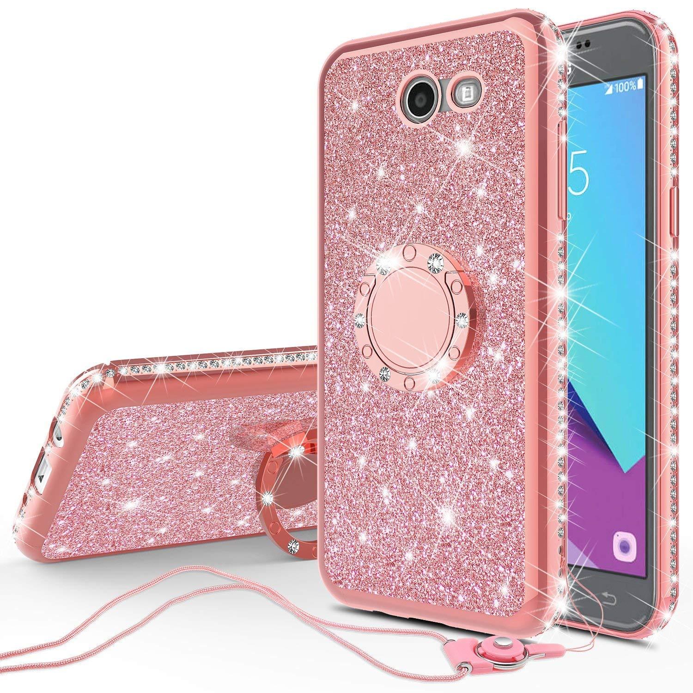 Compatible for Samsung Galaxy J7v/Galaxy J7 Prime 2017/Galaxy J7  Perx/Galaxy J7 Sky Pro Case Cute Girl/Women Rhinestone Bumper Sparkling  Glitter Bling