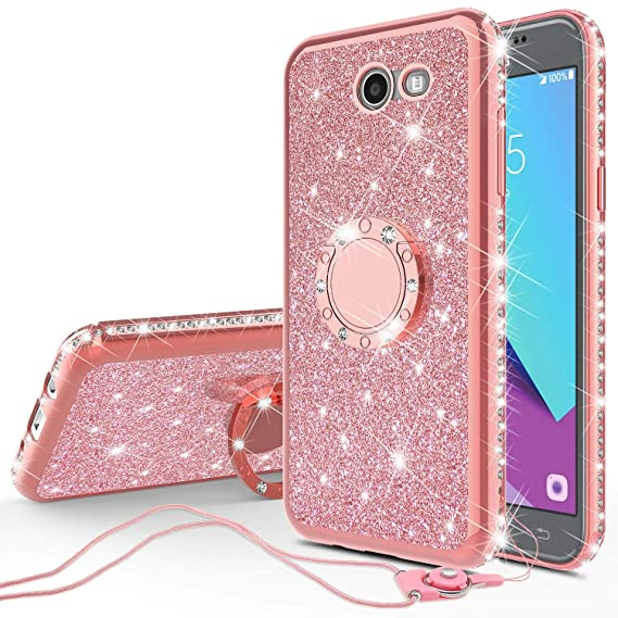 timeless design 58fa7 106b4 Compatible for Samsung Galaxy J7v/Galaxy J7 Prime 2017/Galaxy J7  Perx/Galaxy J7 Sky Pro Case Cute Girl/Women Rhinestone Bumper Sparkling  Glitter Bling ...