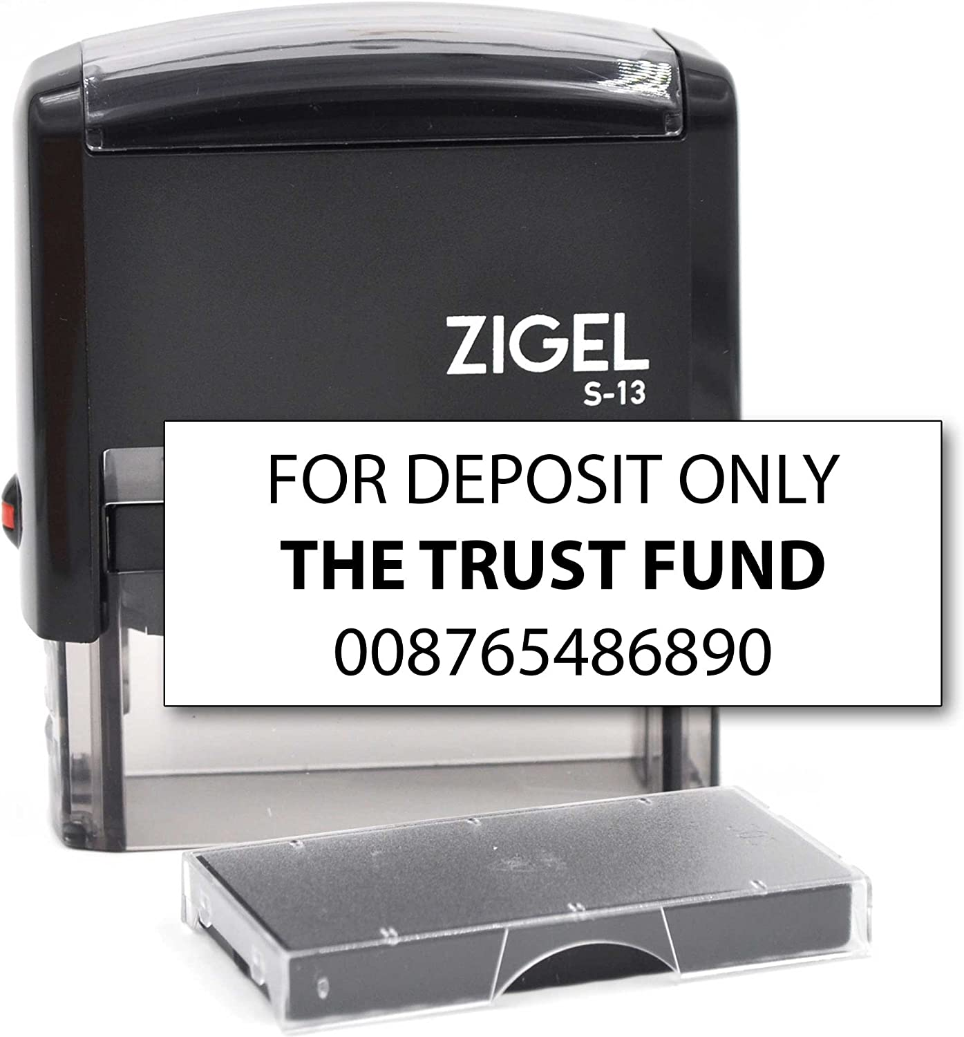 ZIGEL Customized Bank Deposit Stamp Self Inking Rubber Stamp 3 Line Bank Stamp with Extra Replacement Ink Pad
