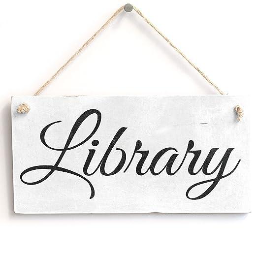 Biblioteca - hecho a mano Shabby Chic cartel de madera/placa ...
