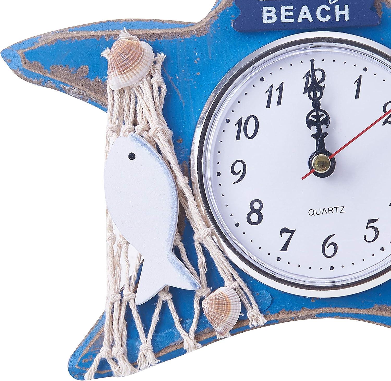 Chaomian Home Ornaments 8x8 Cute Round Wood Nautical Blue Starfish Analog Quartz Desk Clock