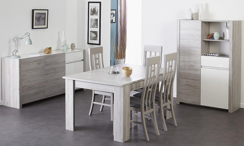 Esszimmer mit Tisch 155 x 101 cm Portofino grey/ weiss hochglanz