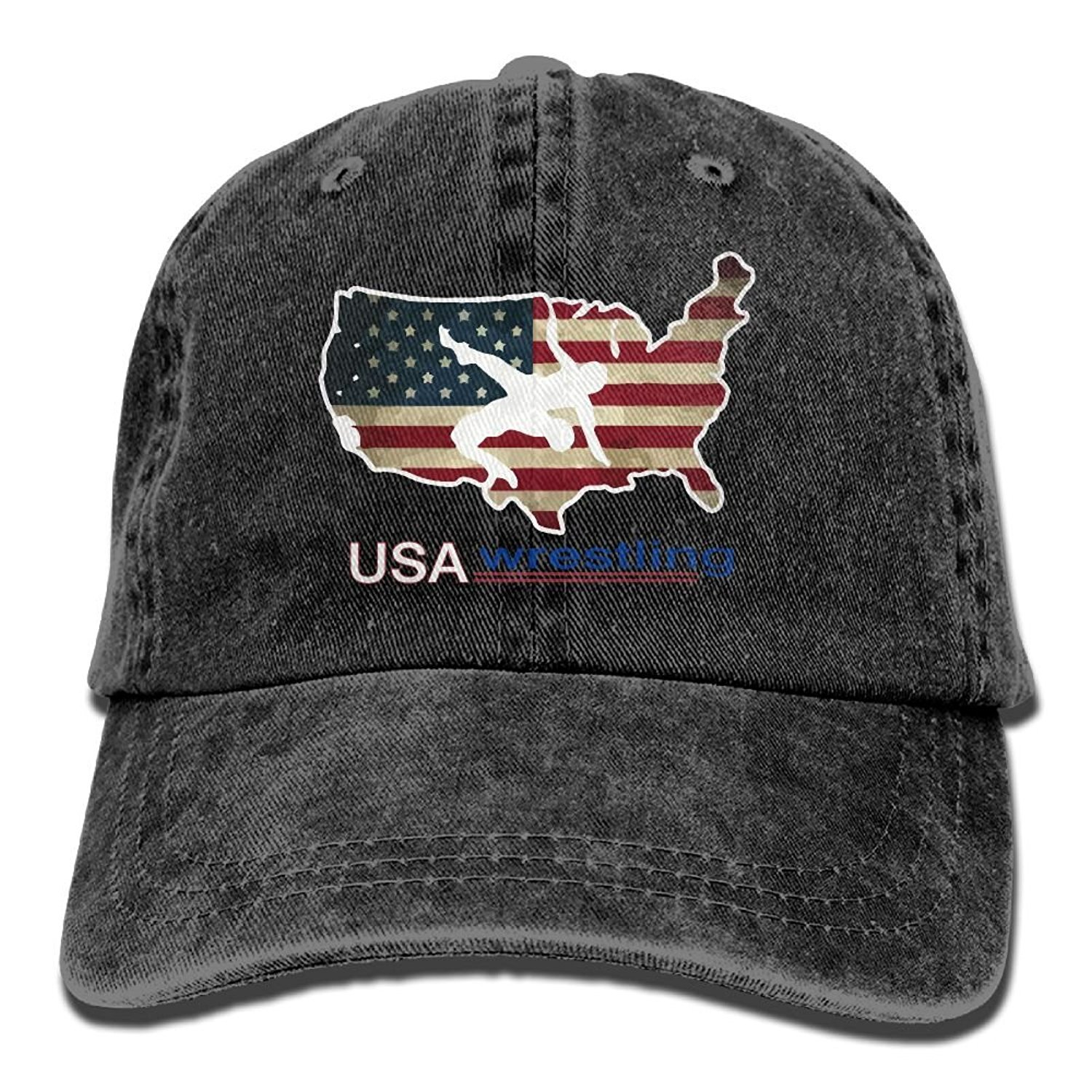 Wagroo Men and Women USA Wrestling Vintage Jeans Baseball Cap by Wagroo