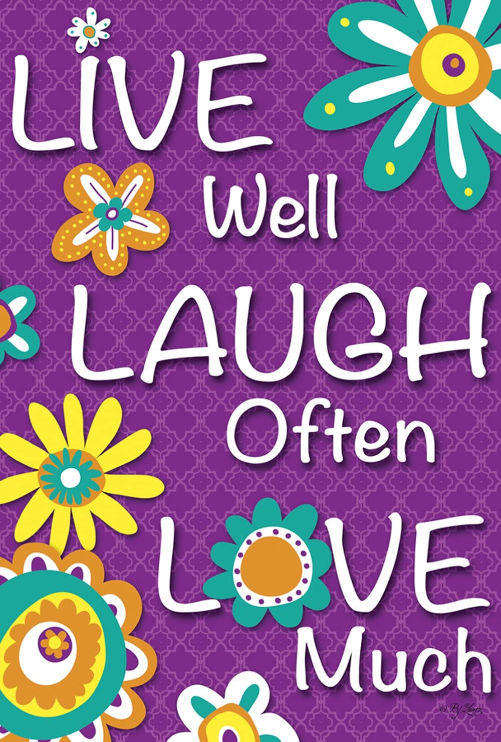 Toland Home Garden 109795 Live Laugh Love 28 x 40 Inch Decorative, Double Sided House Flag