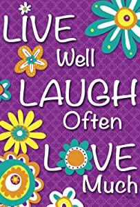 Toland Home Garden Live Laugh Love 12.5 x 18 Inch Decorative Colorful Inspirational Flower Double Sided Garden Flag