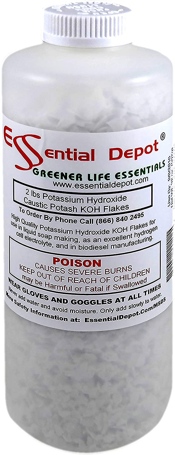 Essential Depot Potassium Hydroxide Flakes KOH, 2 lbs Caustic Potash Anhydrous KOH Dry Electrolyte - HDPE Container with resealable Child Resistant Cap