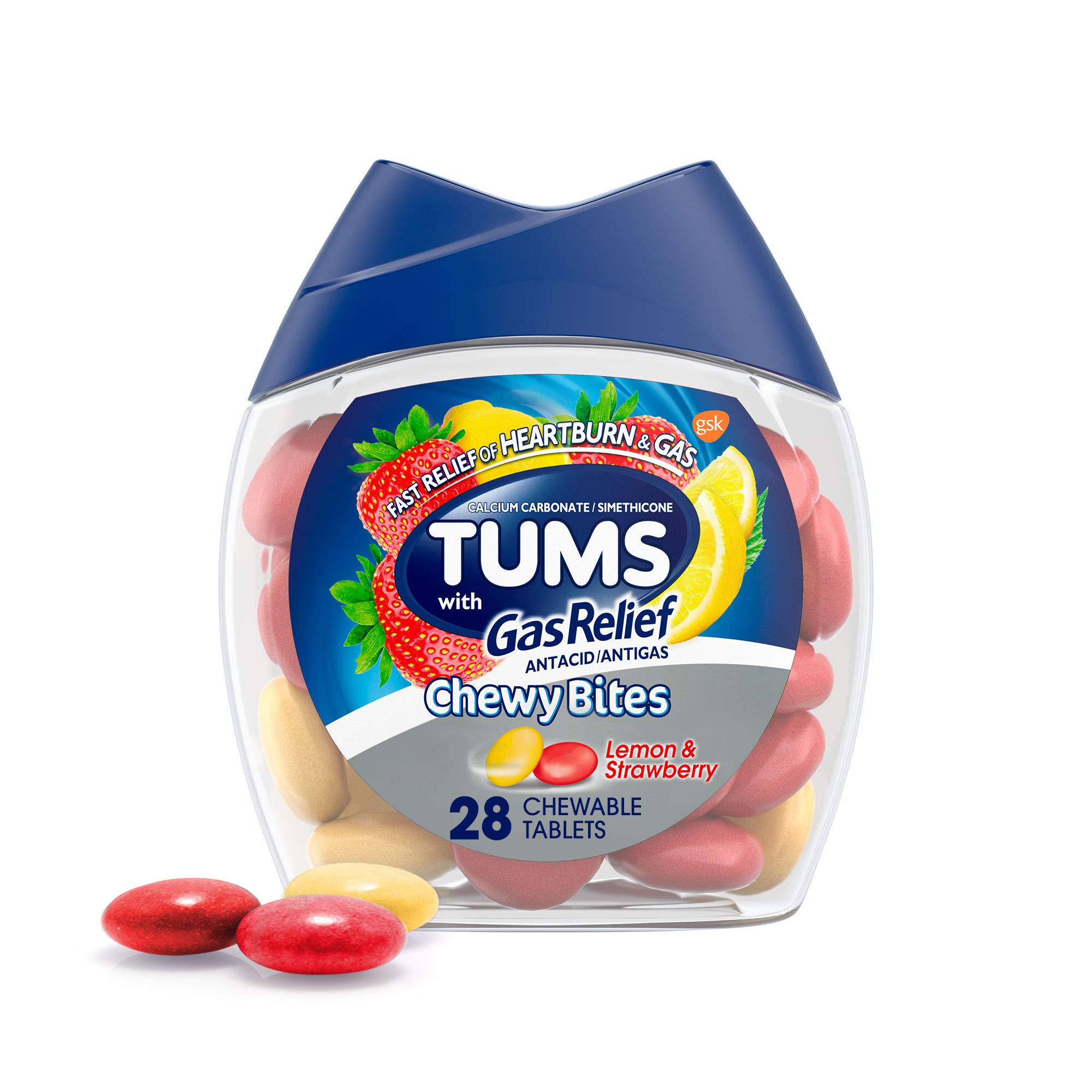 TUMS Chewy Bites Chewable Antacid Tablets with Gas Relief, Lemon & Strawberry - 28 Count