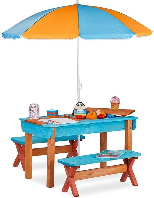 Relaxdays Mobiliario Infantil para jardín, Set con Mesa, Dos Bancos y sombrilla, Muebles de Exterior, Madera, Multi-Color: Amazon.es: Jardín