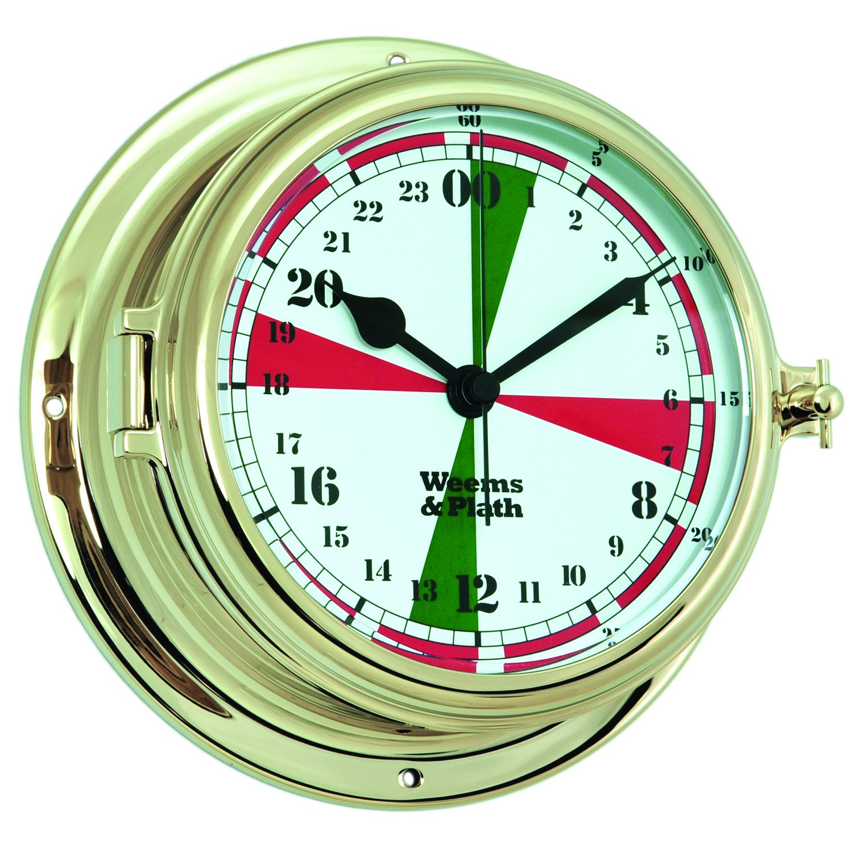 Weems and Plath Endurance II 135 Radio Room Quartz Clock with Military Time, Brass