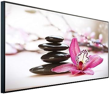 Gepr/üfte Technik InfrarotPro Ultra-HD Aufl/ösung Made in Germany C05: Blumen Wei/ßer Sand mit Steinen 120x60x3cm Infrarotheizung 750 Watt Bildheizung