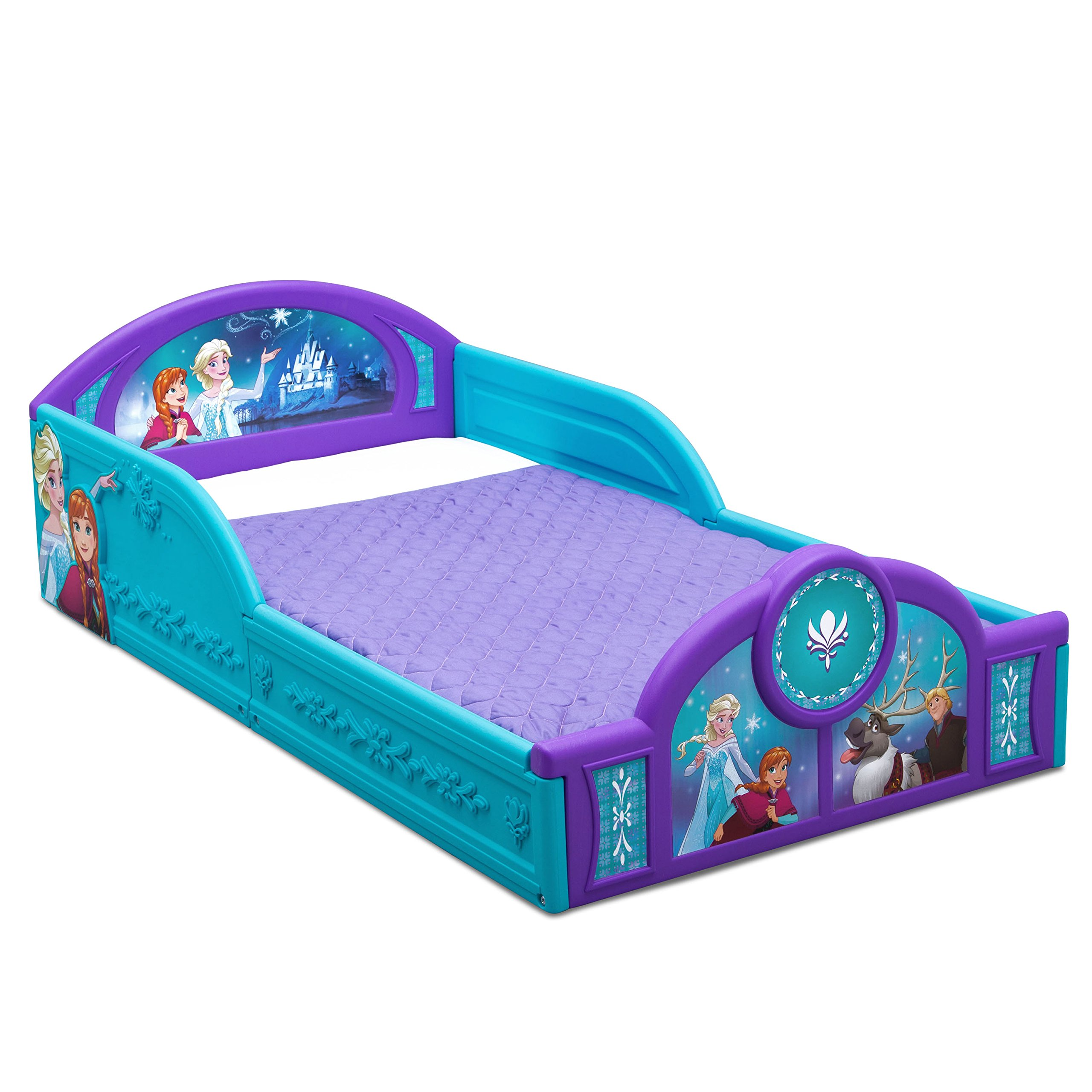 Delta Children Deluxe Disney Frozen Toddler Bed with attached guardrails