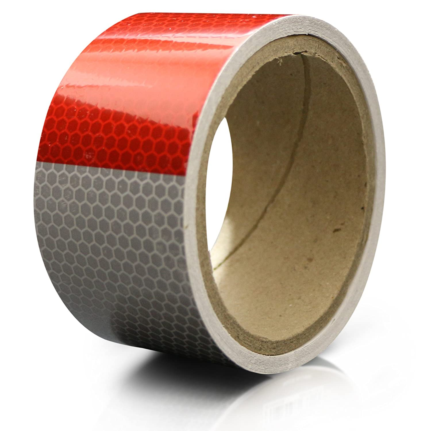 XFasten Reflective Tape Red White 2 Inches by 5 Yards